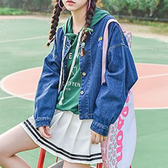 Moriville - Letter Embroidered Denim Jacket