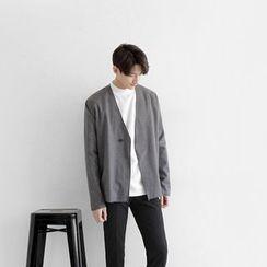 Seoul Homme - Overlock-Stitch One-Button Cardigan