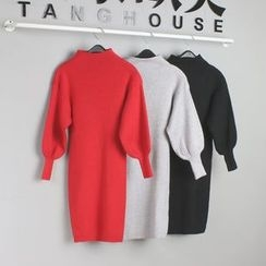 Tang House - Mock Neck Lantern-Sleeve Knit Dress