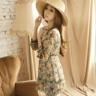 Tokyo Fashion - Crochet-Neckline Floral Tunic