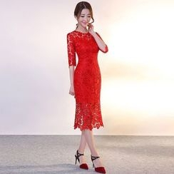 Royal Style - Elbow Sleeve Lace Cocktail Dress