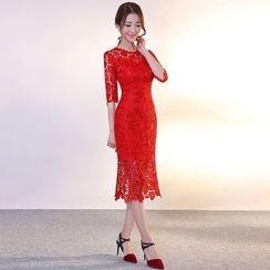 皇家尚品 - 中袖蕾絲禮服裙