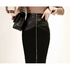 Marlangrouge - Faux-Leather Panel Pencil Skirt