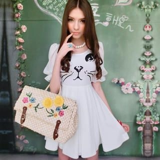 Pink Doll - Cat-Print A-Line Dress