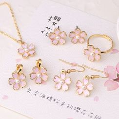 MISSTYLE - Cherry Blossom Necklace/ Earrings/ Clip-on Earrings/ Ring