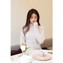 CHERRYKOKO - Mock-Neck Wool Blend Rib-Knit Sweater