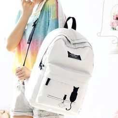 Canvas Love - Printed Canvas Backpack / Set of 4: Printed Canvas Backpack + Shoulder Bag + Coin Purse + Pencil Case