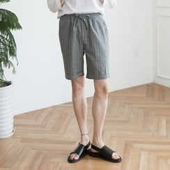 DANGOON - Drawstring-Waist Pinstripe Knee-Length Shorts