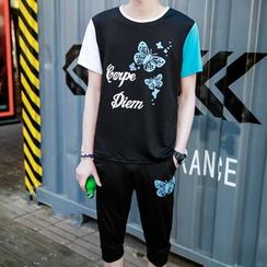 Danjieshi - Set: Lettering T-Shirt + Sweatshorts