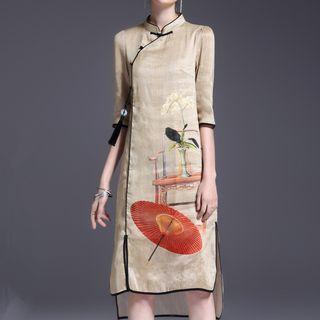 LunarS - Printed Elbow Sleeve Qipao