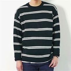 MITOSHOP - Crew-Neck Striped Knit Top