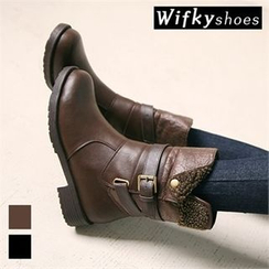 Wifky - Belted-Detail Fleece-Lined Mid-Calf Boots