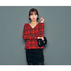 HOTPING - Mock Tow-Piece Checked Dress