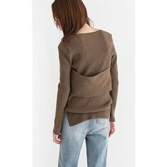Someday, if - V-Neck Layered Wool Blend Knit Top