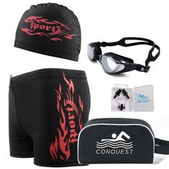 Anfory - Set : Prescription Goggles + Swim Shorts + Swim Hat + Plug + Pouch