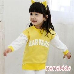 nanakids - Kids Contrast-Sleeve Lettering Sweatshirt