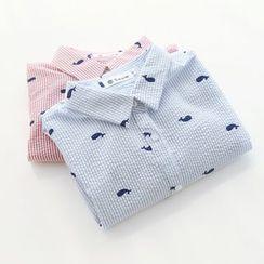 布丁坊 - 鲸鱼印花短袖衬衫