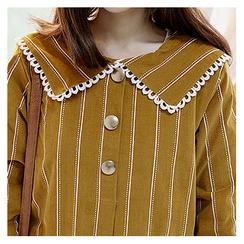 Sechuna - Lace-Trim Striped Dress