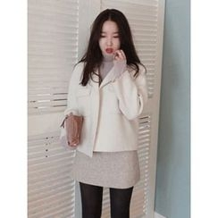 maybe-baby - Dual-Pocket Wool Blend Coat