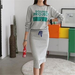 CHICFOX - Set: Lettering Pullover + Midi Skirt