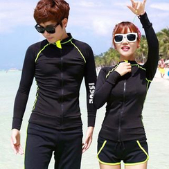 Sunset Hours - Couple Matching Lettering Rashguard / Swim Shorts