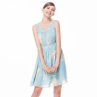 O.SA - Sleeveless Floral Pleated Dress