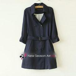 Munai - 3/4-Sleeve Belted Trench Coat