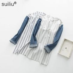 GoFlow - Denim-Sleeve Striped Long Shirt