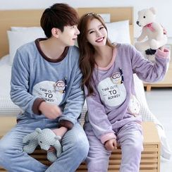 SHIRLEY - Couple Matching Pajama Set: Monkey Applique Pullover + Pants