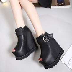 Anran - Peep Toe Wedge Platform Ankle Boots