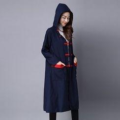 Salisha - 中式盘扣连帽长版外套