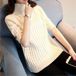 Ageha - Short Sleeve Cable Knit Turtleneck Sweater