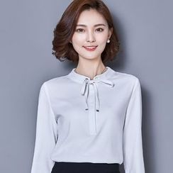 Eferu - 领结带雪纺衬衫