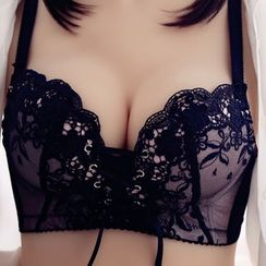 HYG Lingerie - Set: Embroidered Lace-Up Bra + Panties