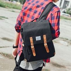 SeventyAge - Faux Leather Trim Buckled Backpack