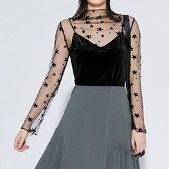 Heynew - Set: Mesh Long-Sleeve Top + Camisole Top