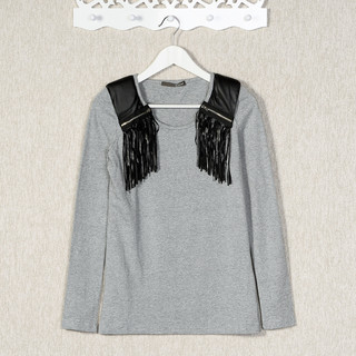59 Seconds - Faux Leather Fringe Panel Long-Sleeved T-Shirt