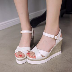 Shoes Galore - Cross Strap Platform Wedges