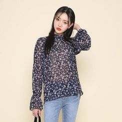 Envy Look - Mock-Neck Floral-Pattern Sheer Top