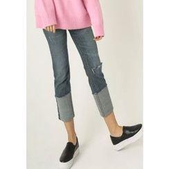 REDOPIN - Cuff-Hem Distressed Jeans