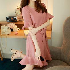 MyFiona - Ruffled Short-Sleeve Dress with Sash