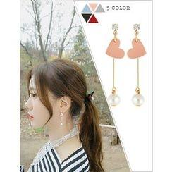 soo n soo - Faux-Pearl Heart Drop Earrings