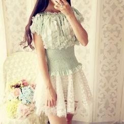 米蟲の小屋 - 飾花雪紡襯衫