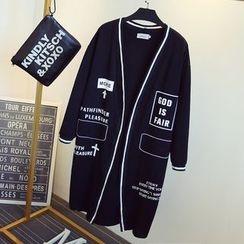 KASA - Printed Open Front Long Jacket