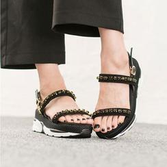 VIVIER - Rhinestone-Detail Mesh Sandals