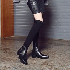 JY Shoes - Buckled Over-the-Knee Boots