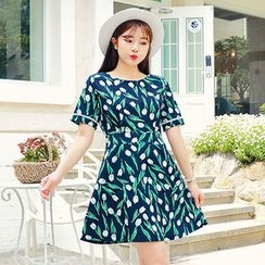 HOTPING - Floral Print A-Line Dress