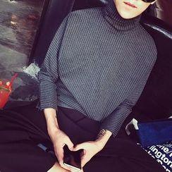 蔡先生 - 高领条纹上衣