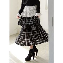 DEEPNY - Checked Maxi Tiered Skirt