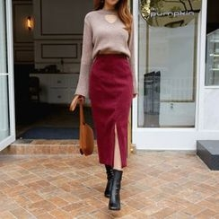 DABAGIRL - Slit-Hem Long Pencil Skirt